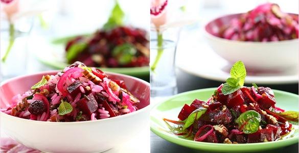 кухня русская | Постный салат из свеклы и риса