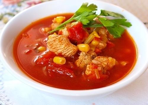 приготовить ужин   Густой томатный суп с индейкой