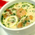 Суп с морепродуктами и грибами на курином бульоне