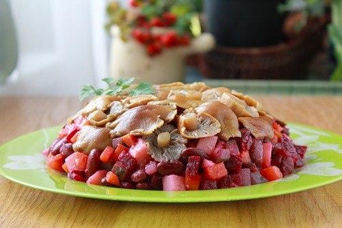 кулинария темы | Винегрет с грибами на обед