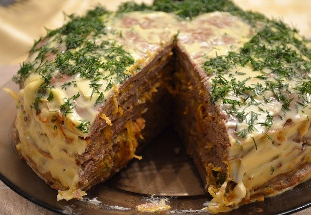 Печёночный торт рецепт с фото пошагово из печени