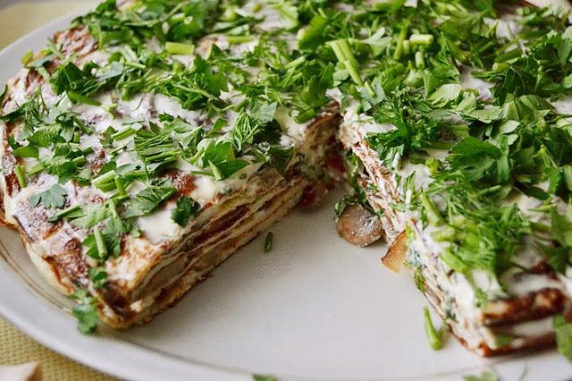 кухня европейская | Торт-омлет с грибами