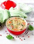 Сырный суп с форелью и грибам
