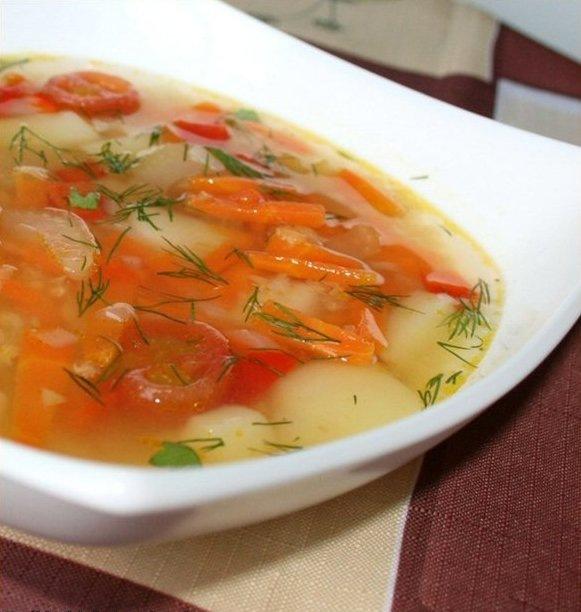 приготовить ужин | Овощной суп с красной чечевицей и маринованными помидорами