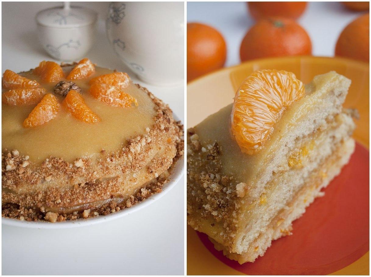Апельсиново ореховый торт постный