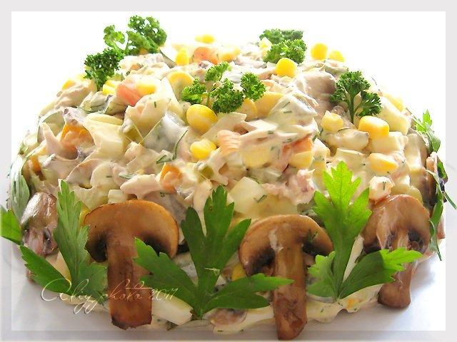 рецепты салат из грибов и мариновых огурцов