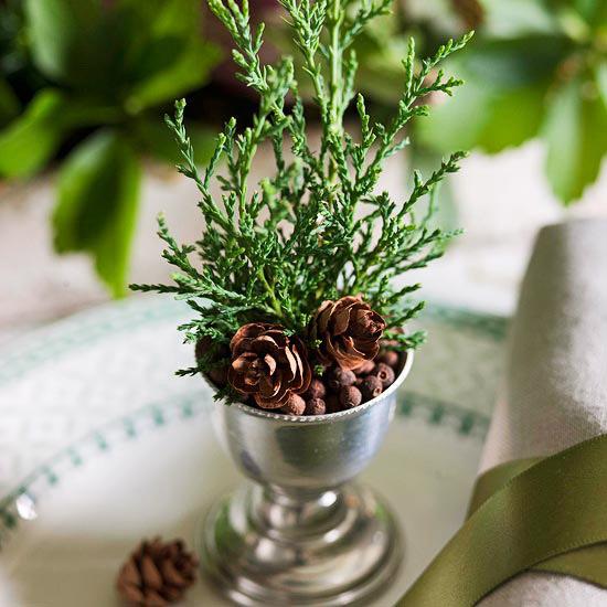 Мини-букетики для новогодней сервировки